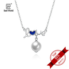 Luxury 925 Silver Jewelry Oil Drip Letter Pearl Pendant Love Necklace for Mother Gift