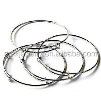 Wholesale Stainless Steel Expandable Wire Charm Bangle Bracelet Adjustable
