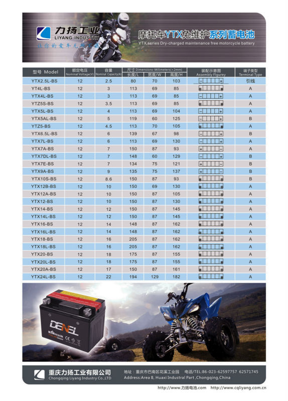 low self-discharge baterIa de la motocicleta motorcycle start battery  YTX5L-BS MAINTENANCE FREE BATTERY