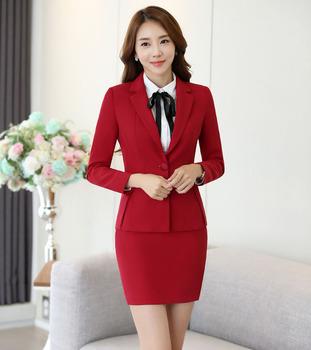 Ladies Hotel Uniform Design Skirt Suit Women 2017 Red Black - Buy ...