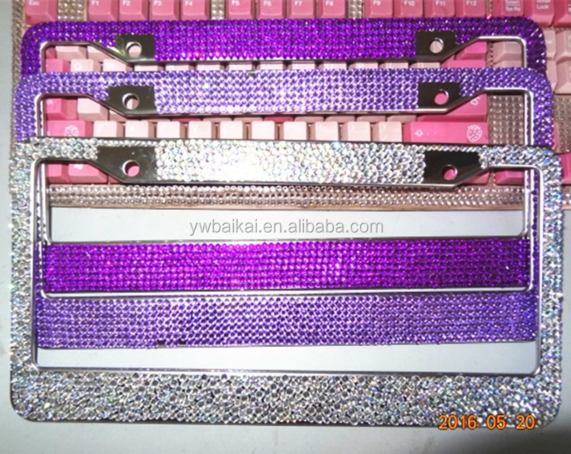 5 Rows Rhinestone Bling License Plate Frame Custom Plastic Car ...