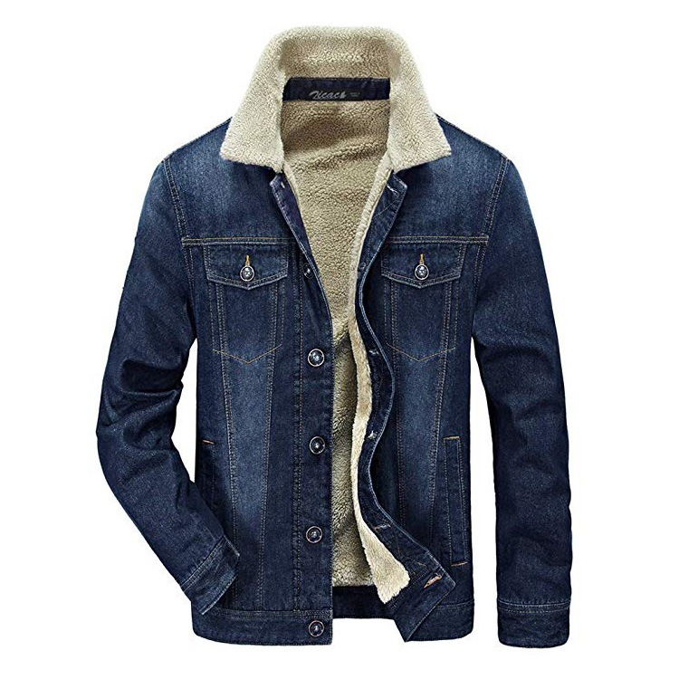 Fabriek groothandel custom oem mannen winter herfst warm bont denim jas