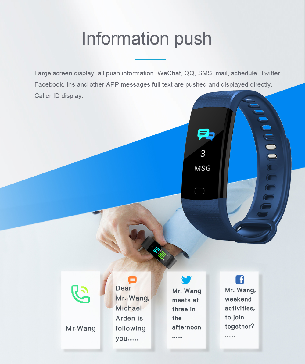 Y5 Smart Band Watch Color Screen Wristband Heart Rate Monitor Activity Fitness tracker