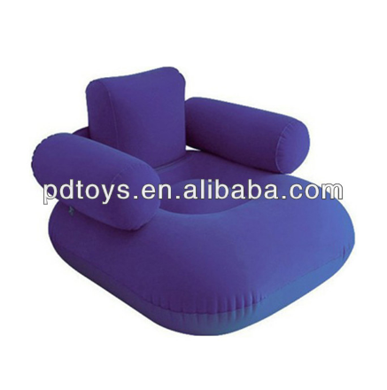 Inflatable PVC flocked single sofa with armres backrest