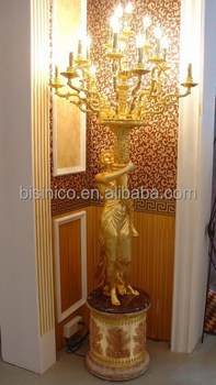 Sculpture Man Holding Br Chandelier Floor Lamp In Large Size 24k Gold Plated Bf02 6053