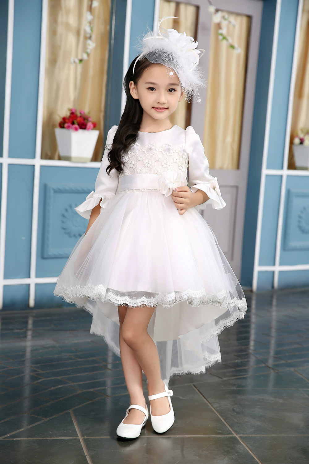 Merry Christmas Party Dress 2016 Kids Clothing European Style Flower