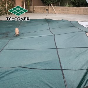 Preventing evaporation safety winter micro mesh pool cover in mesh for prevent leaf