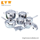 2018 new design stainless steel kitchen custom pots and pans cookware sets