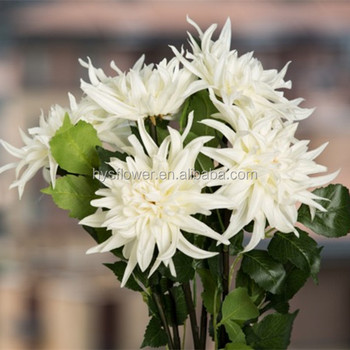 Artificial White Dahlia Flower Indoor Plant White Flowers For Home