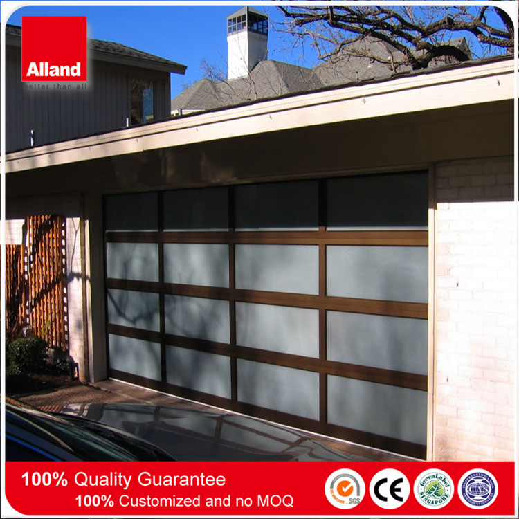Dark grey Aluminum automatic PC sheet panel glass garage door for Villa