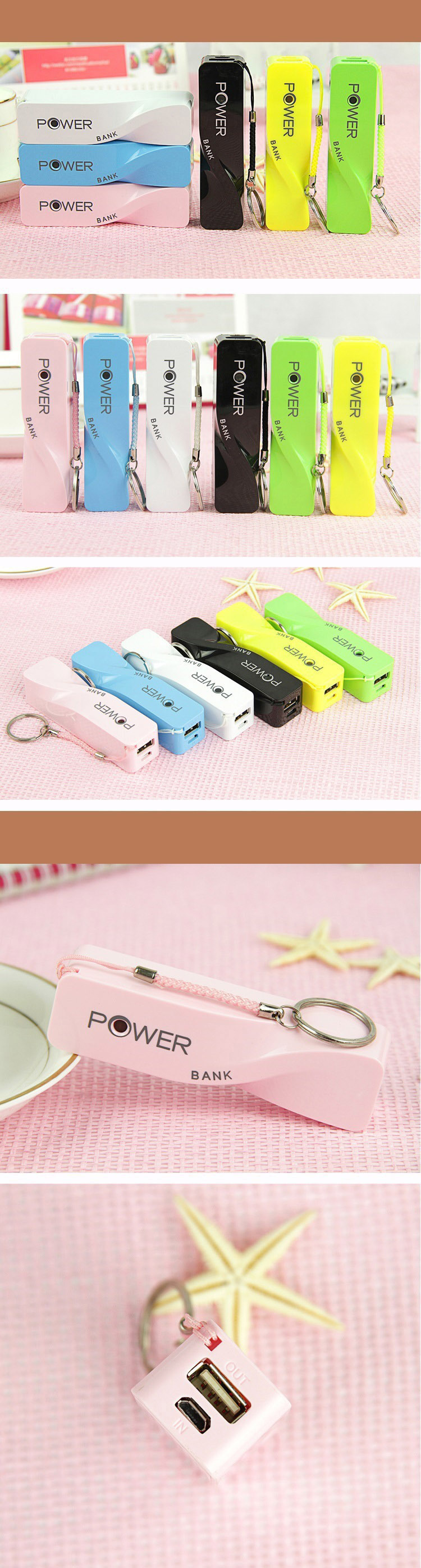 Best seller!!! Colorful mobile usb power bank 2600mAh for Christmas