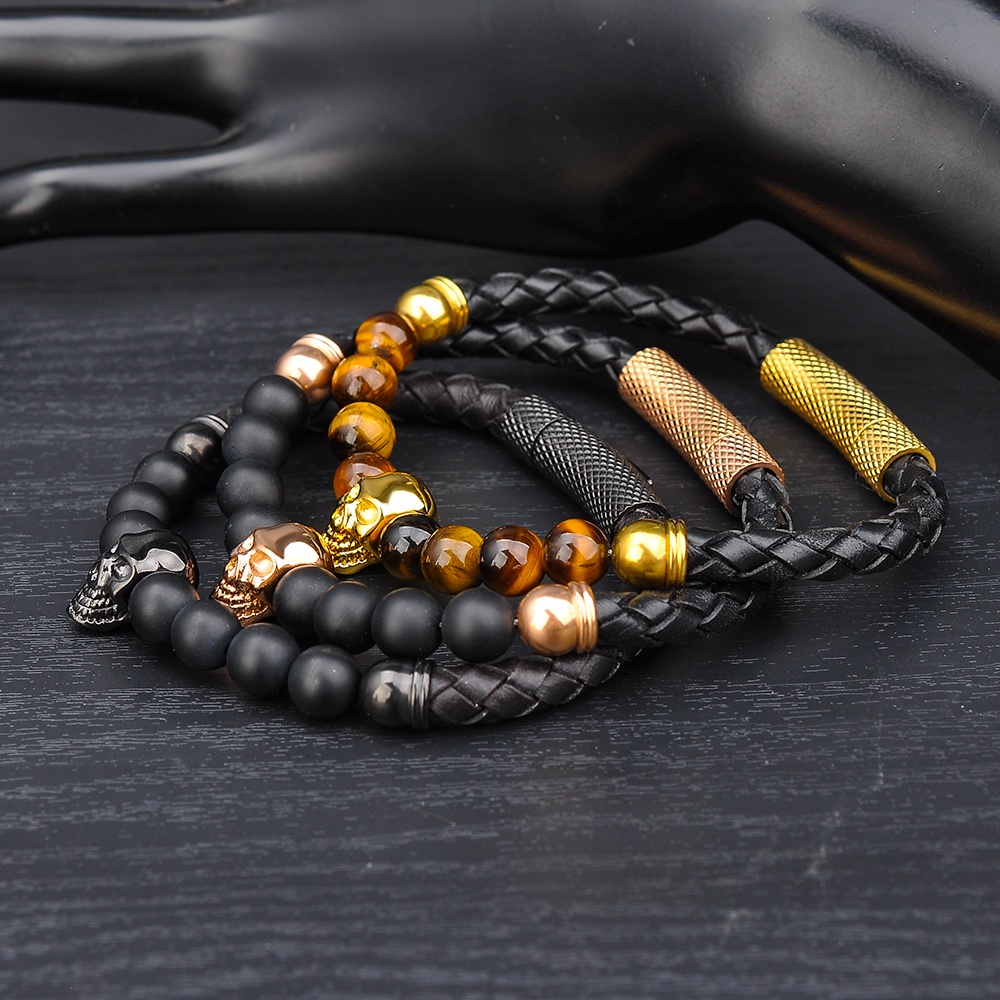 Fashion Tiger Eye Stone Bead Gold Skull Charm Leather Bracelet For Men,Mens Bracelets Skull Jewelry