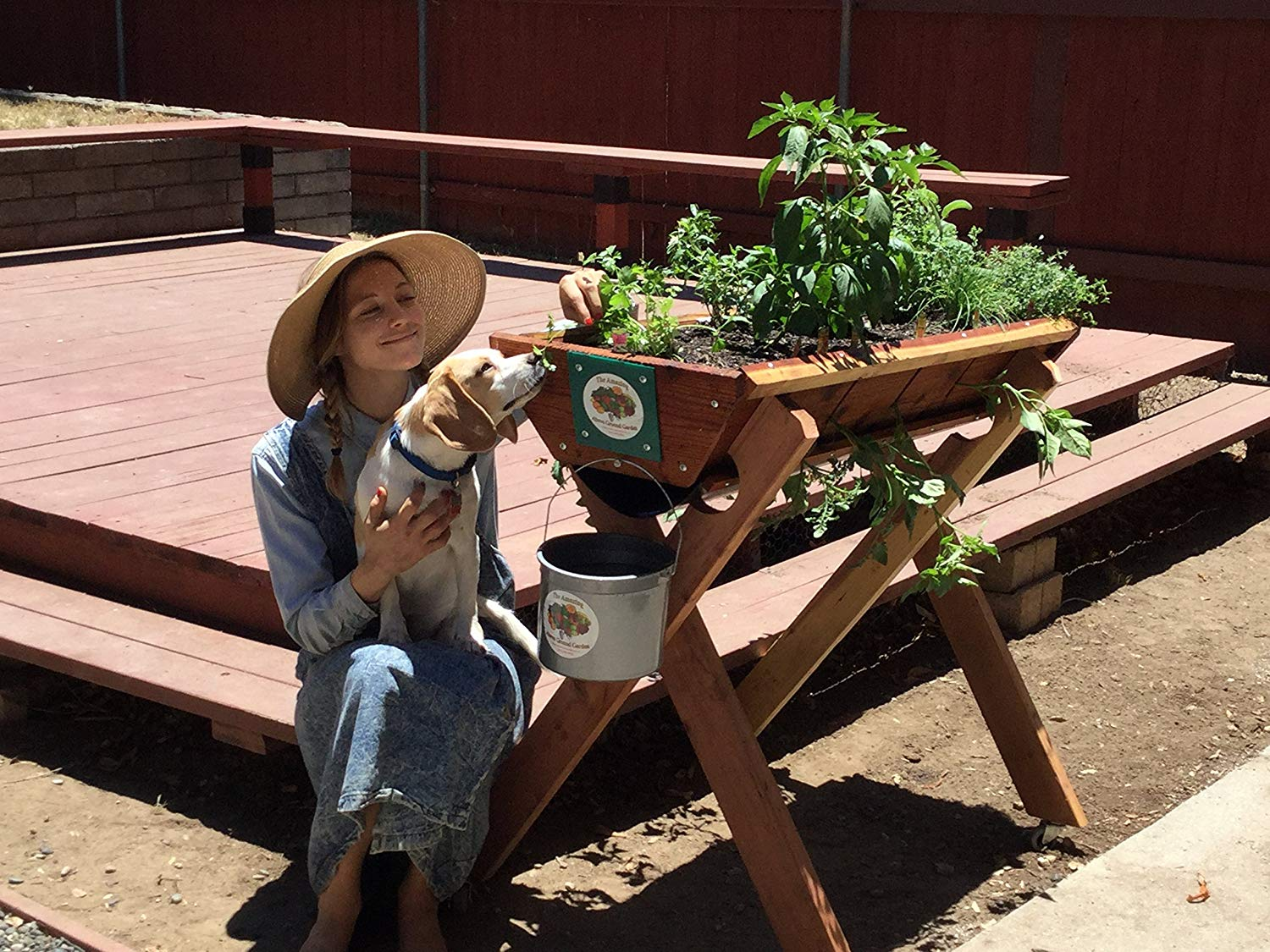 4' Urban Farmer Redwood Garden Planter grows 20 plants Herbs,Vegetables,Flowers, with the Reclaimed water Conservation System
