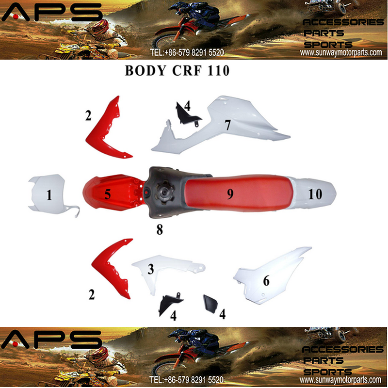 Motorcycle Plastic Set for 2013 CRF110 Mini off-road Dire BIke