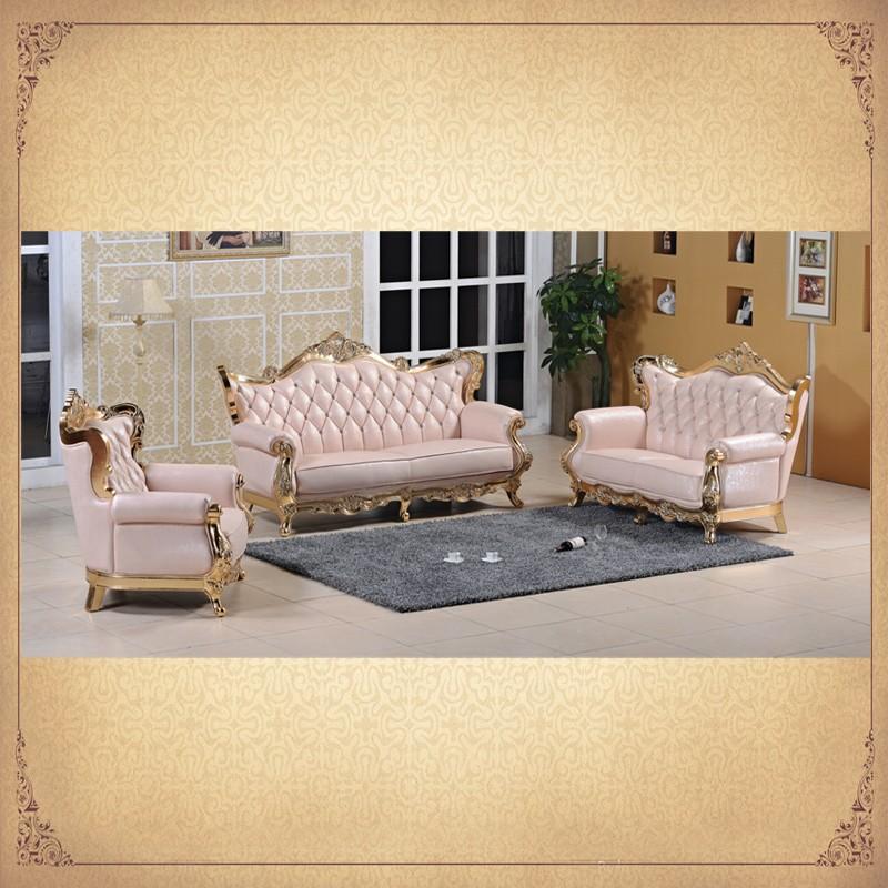 Fancy Design Crystal Tufted Pink Foshan Sofa Royal Living Room