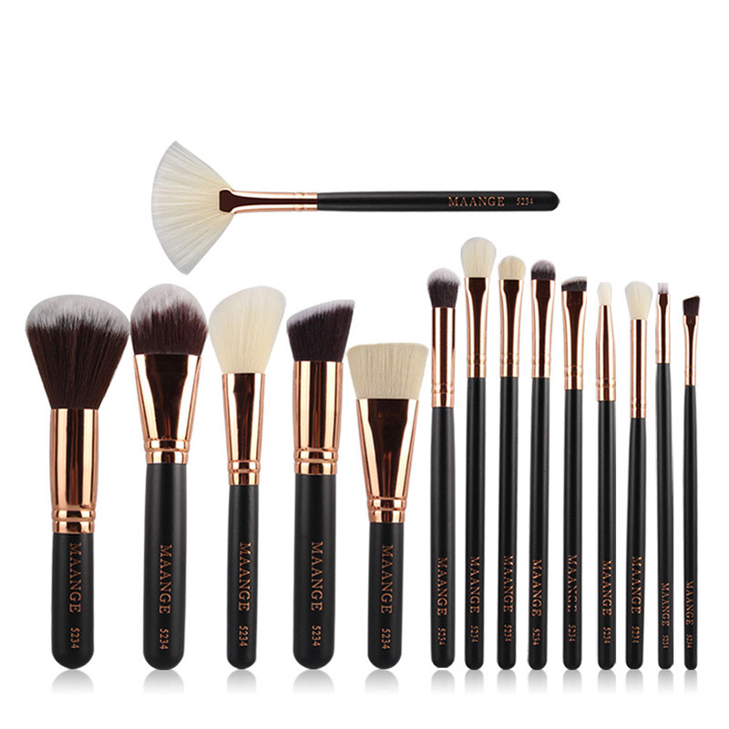 Wholesale Full Function 15pcs Synthetic Hair professional rose gold makeup brush set