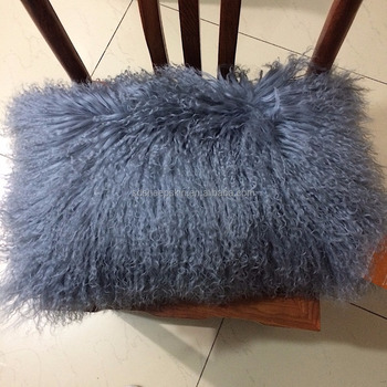 Real Mongolian Long Hair Lamb Not Faux Fur Home Pillow