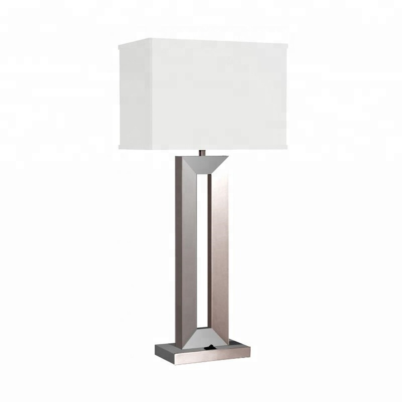 Dongguan Furniture Lighting Supplier Brushed Nickel Power Outlets Hotel Bedside Table <strong>Lamps</strong> With Switch USB Port