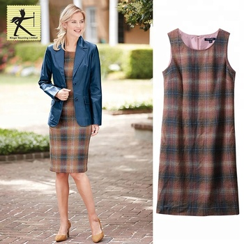 1e59ab8104d24 High quality simple casual formal fashion woman winter wool dress waist  slim plaid printed sleeveless woman