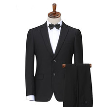 normal two buttom men suit /black custom slim fit wedding suit factory