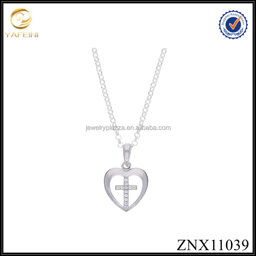 High quality Gold Plated Cubic Zirconia Delicate Heart with Cross Women Pendant Necklace 925 Sterling Silver Jewelry