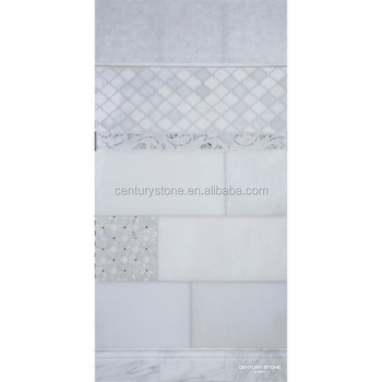Bathroom Tile Chair Rail Marble Mosaic White Basket Weave Marble Mosaic  Wall Tile
