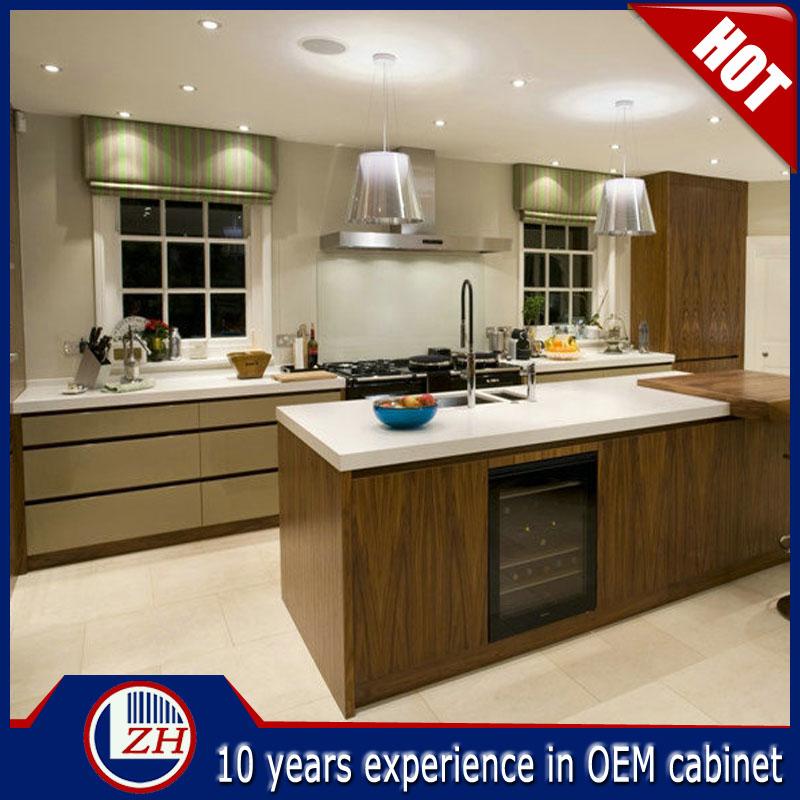 Guangzhou Cheap Wood Grain Laminate Kitchen Cabinets