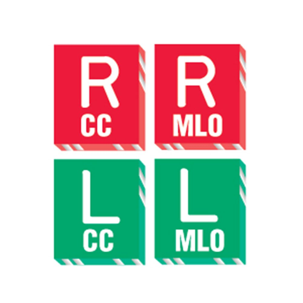 PDC Healthcare MRK-317 X-Ray Marker - Abbreviated,R and L - CC/MLO, Polycarbonate, 1-1/16 x 1-3/16 x 1/8, Red/Green (Pack of 4)