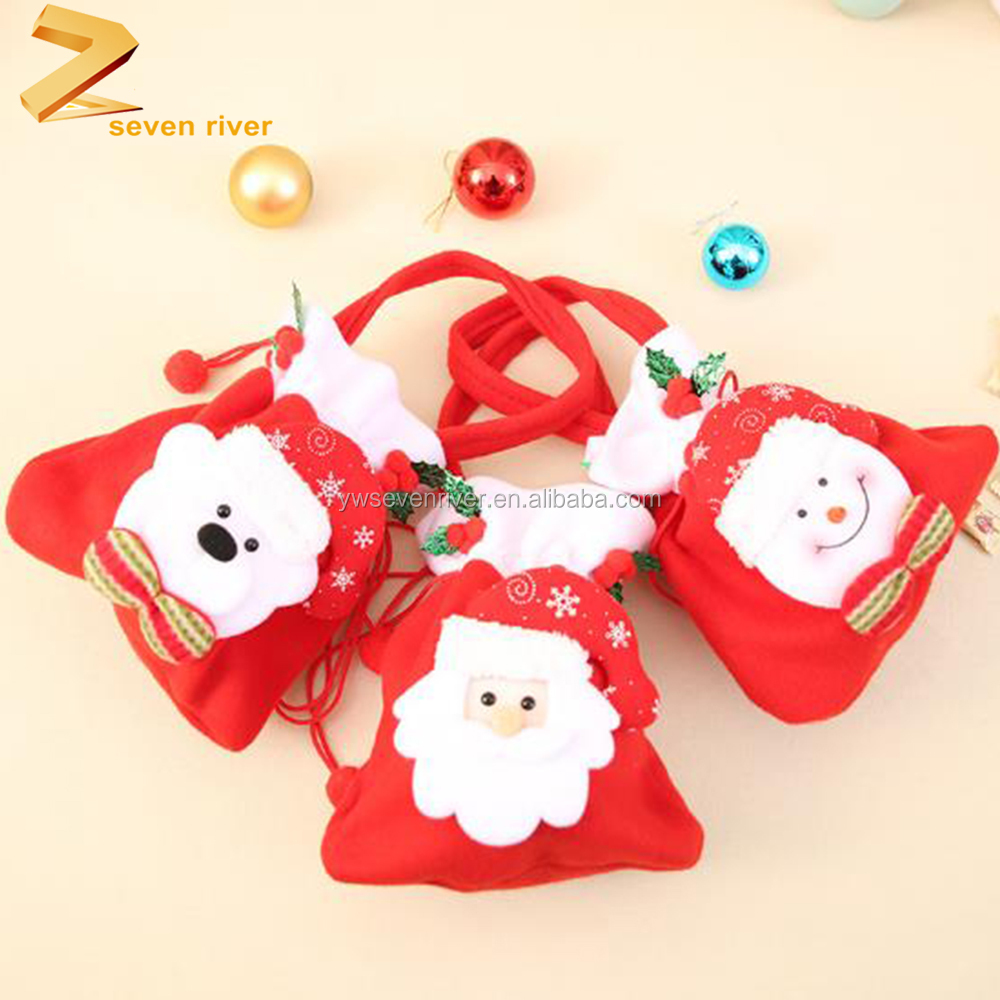 Christmas decoration,red velvet bag ,christmas drawstring gift bag