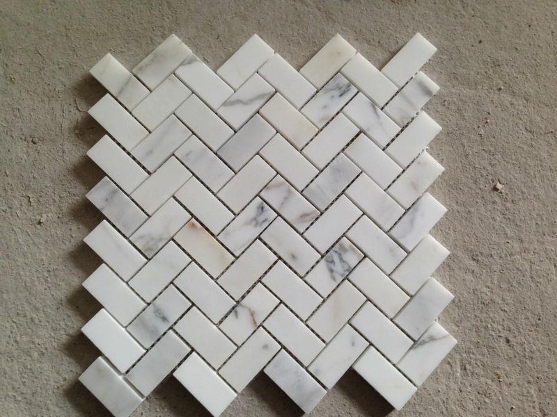 Carrara Marble Herringbone Mosaic Tile 1 X 4 W Thassos