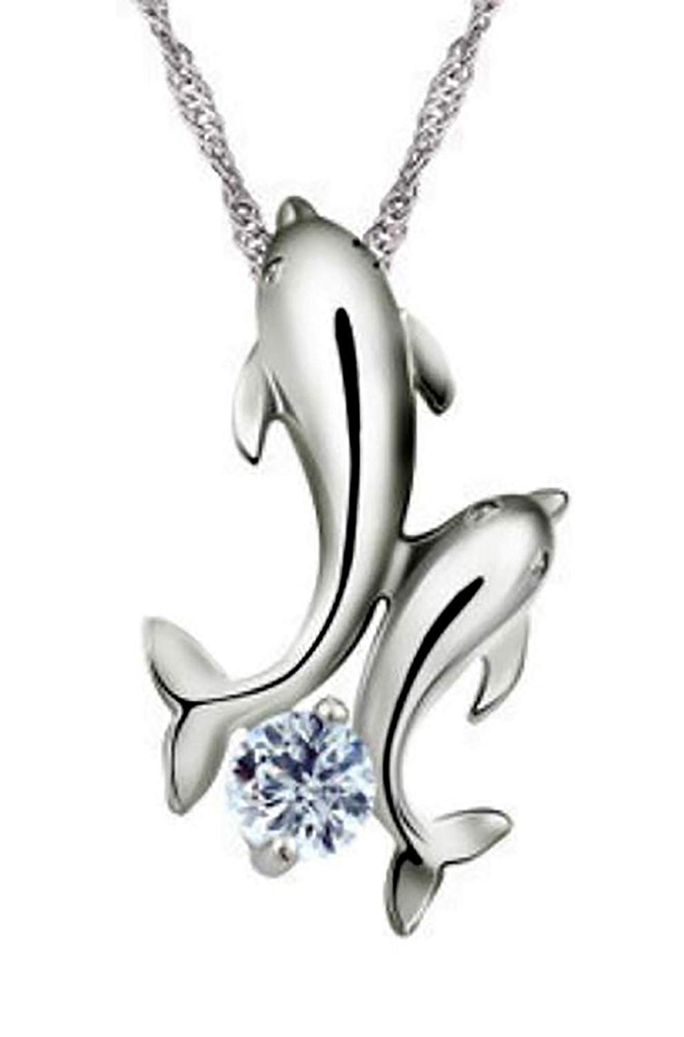 Ginger Lyne Collection Dolphins CZ Sterling Silver Pendant Water Waves Chain Necklace