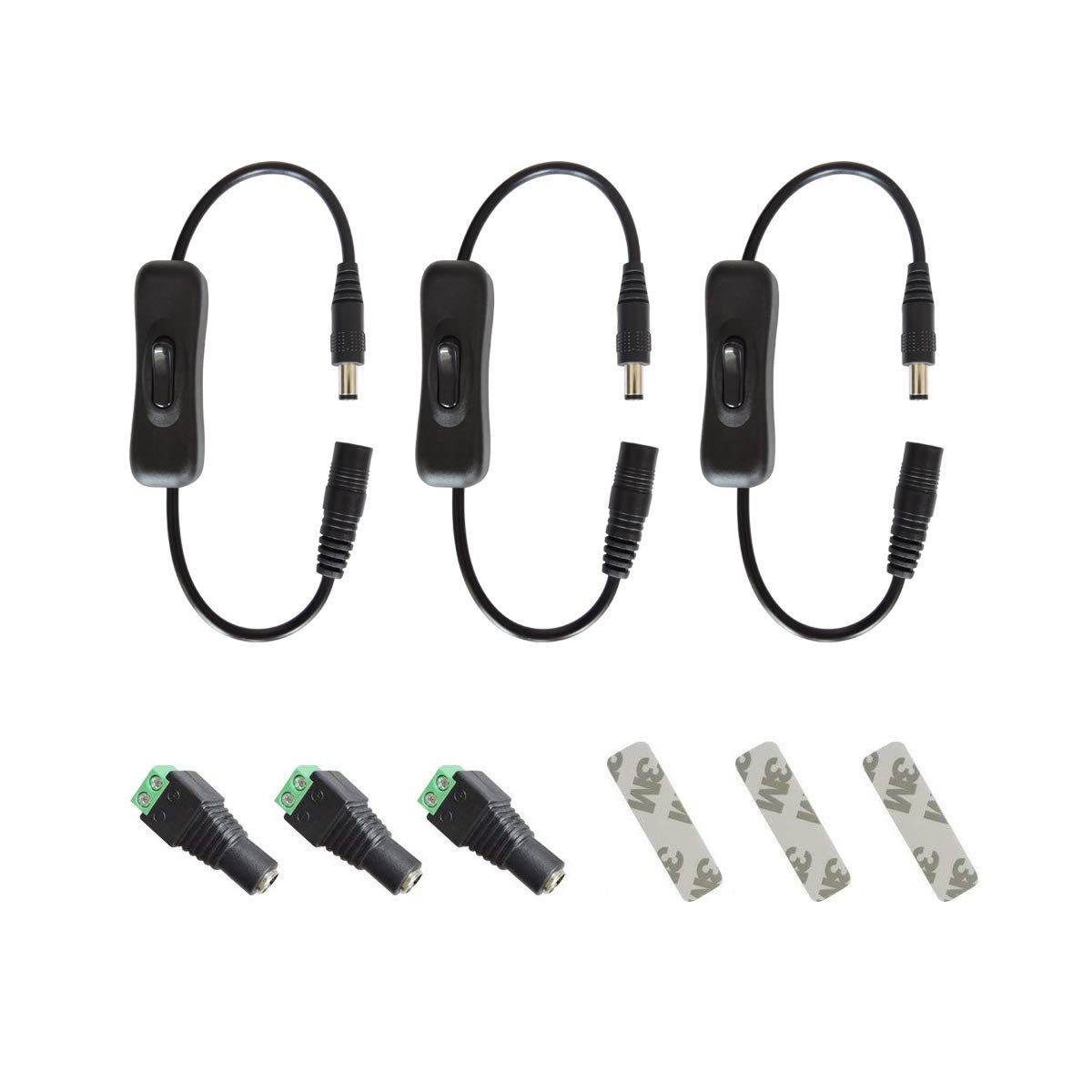 Gxilee DC 12v Inline Switch Kit for 3528 2835 5050 5630 LED Light Strip, CCTV Security Camera,Includes 3X Black Manual Inline on Off Switch,3X Female DC Power Plug Adapter,3X Adhensive 3M Tape