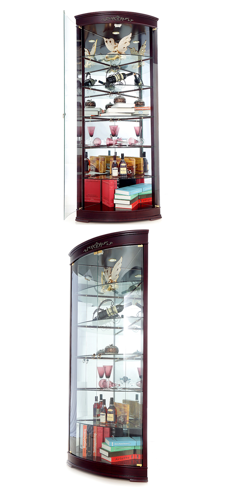 Luxury Living Room Modern Wooden Gl Wine Corner Bar Cabinet Furniture