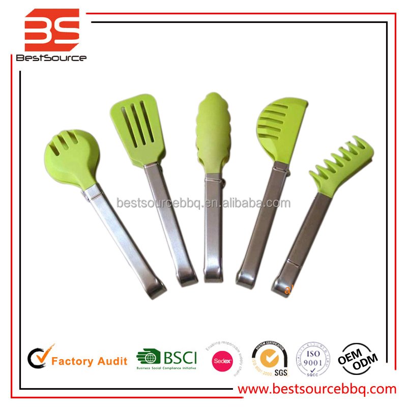 Kitchen Tool 5pcs set silicon barbeque grilling tongs