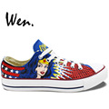 Wen Hot Sale Hand Painted Shoes Design Custom Low Top Wonder Woman Boys Girls High Top