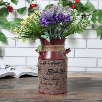 Retro Style Galvanized Metal Vase Flower Jug Milk Pot For Gardening