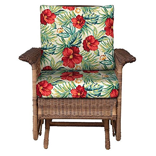 "Home Improvements Outdoor Patio Deep Seat Chair Cushion Set Seasonal Replacement Cushions 20-1/2""x22-1/2 x5 back; 23""x22""x5"" seat, 30 Prints/Colors (Green Red Tropical Floral)"