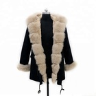 Wholesale Price Custom Winter Fashion Women Natural Fox Fur Parka For Sale