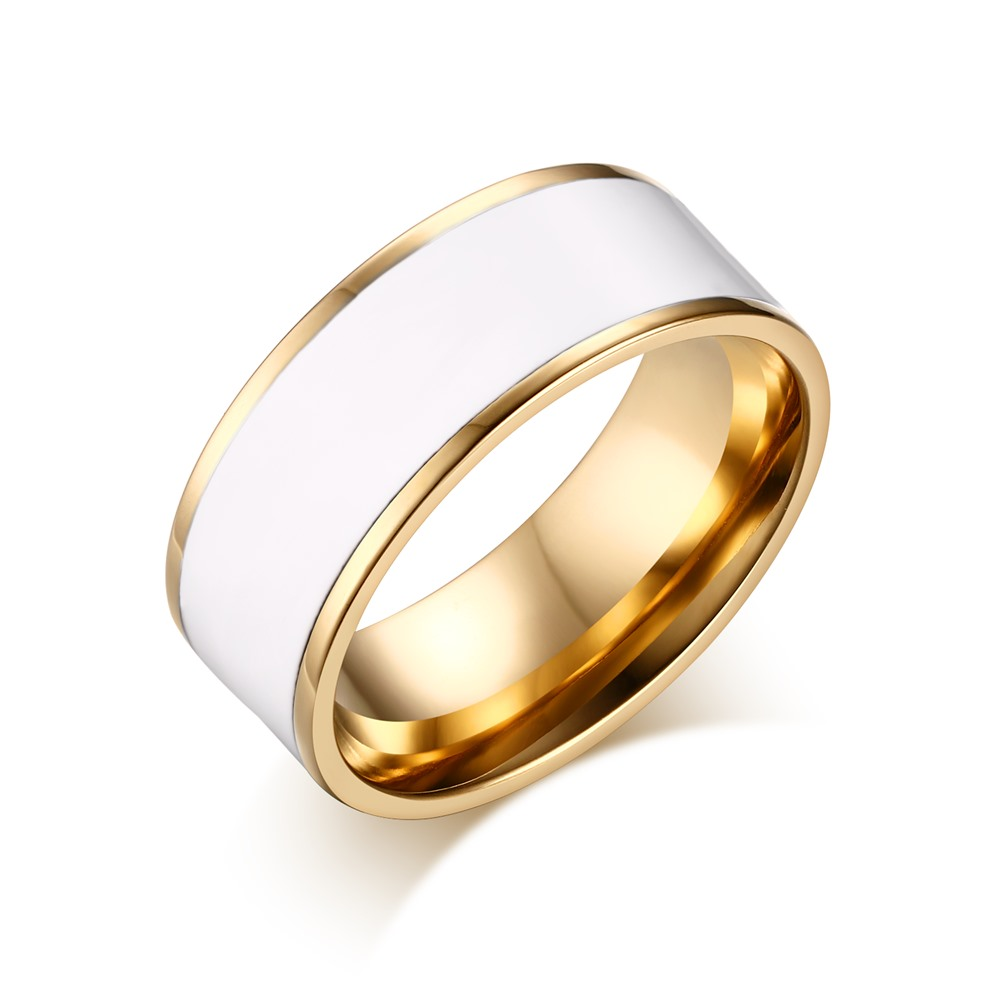 selling gold plated ring stainless steel enamel