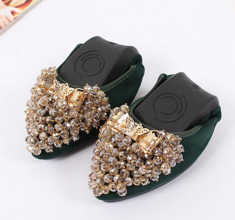 Ladies Flat Shoes Fashion Bling Butterfly Rhinestone Women Flats Casual Leather Ballet Flats Fold Up Gold Shoes