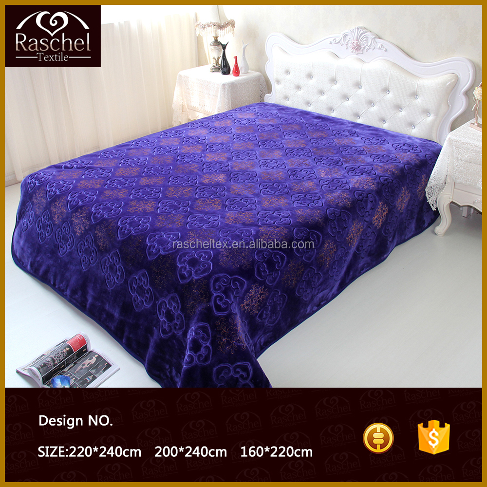 Hot Selling 100 % Polyester 1 Ply Gliding Stamp and Embossed Raschel Blanket