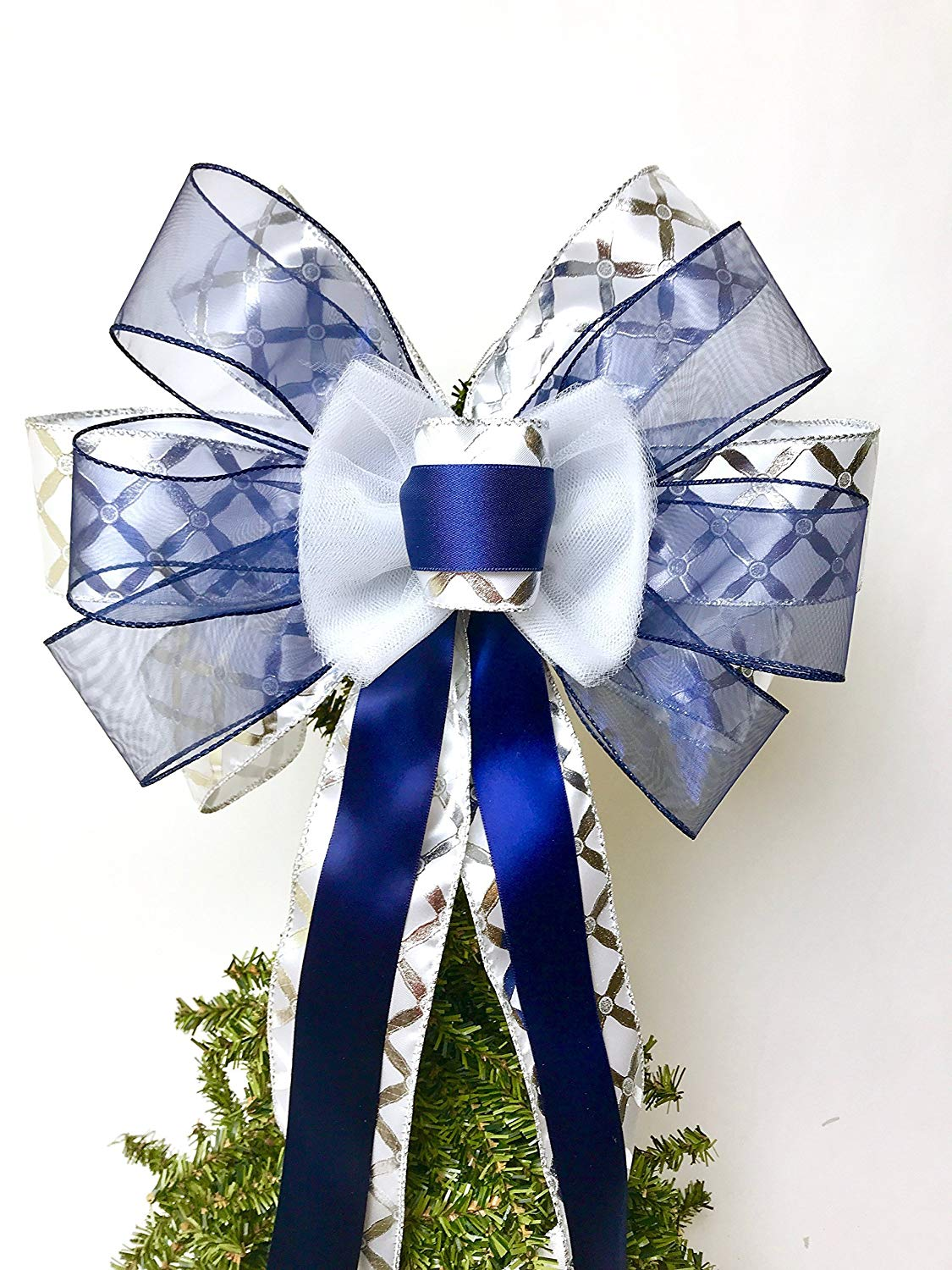 Gift Bow, Navy Blue and White Handmade Large Gift Bow, Office Decorating, Wreath Bows, Holiday Bow, Home Decor, Swag Bow, Door Decor - Handmade Bow