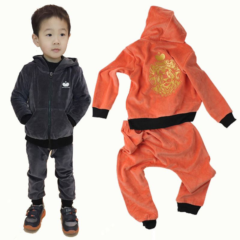 fed25e68d6c3 Buy Kid Boys Clothing Set Velvet Zipper Hooded Jackets + Pants ...