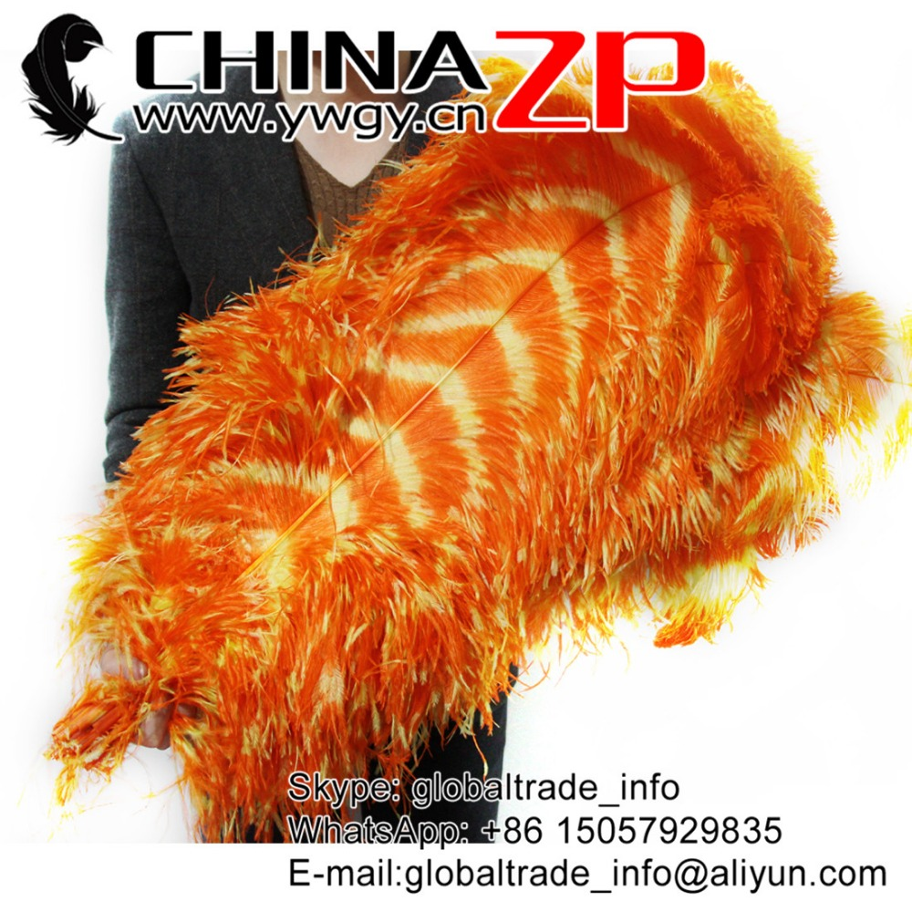 CHINAZP Wholesale Large Size from 28 to 30inch Striped Colored Yellow and Orange Ostrich Feathers for Wedding Decor