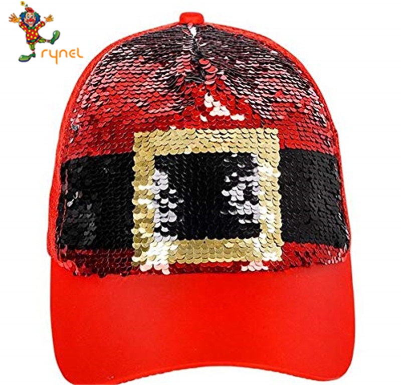 Commercio all'ingrosso Paillettes Babbo Natale Del Partito Headwear Cap Per Adulti Trucker Cappello Glitter Reversibile Cappello Da Baseball