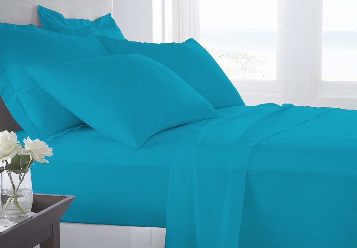 BED SHEET Set 6 Piece 800 Thread Count (1 Flat Sheet 1 Fitted Sheet And 4 Pillowcases) (10'' Pocket) 100% Pima Cotton Luxurious Bedsheets By Serene Linens (Turquoise Blue, California King)