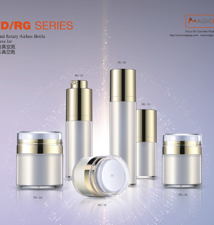15ml 30ml 50ml cylinder rotary airless bottle squeeze bottle jar with top cap airless container