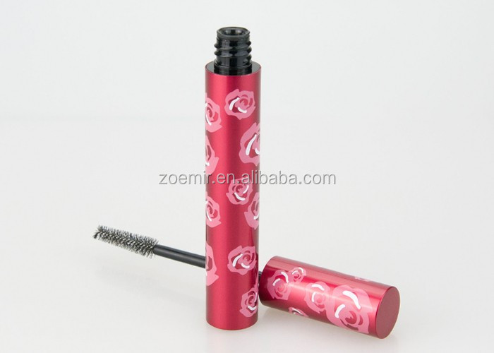 Aluminum red rose cosmetic mascara tube/eye lash bottle packaging with new design