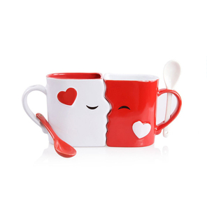 Gift Set Kissing Mugs with Spoon Beautifully Valentine's Day Gifts