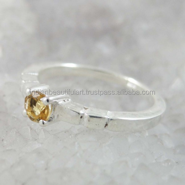 Marked 925 Sterling Silver Citrine Semi Precious Stone Size Ring Jewellery - SJR2137